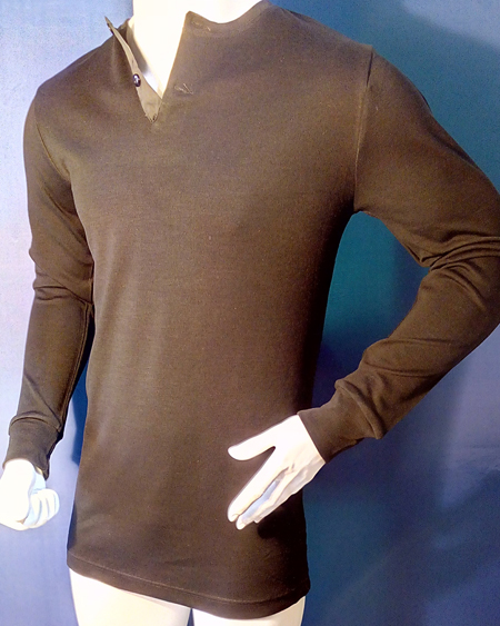 281 MENS MERINO WOOL LONG SLEEVE UNDERSHIRT BUTTON DOWN