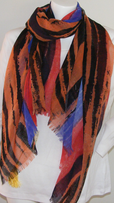 Raffal FE18 Abstract print Striped Stole