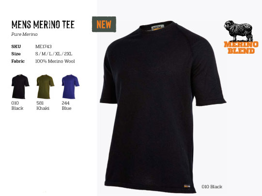 (ME1743) Mens Short sleeve merino t-shirt