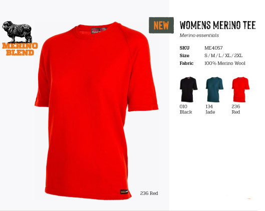 (ME4057)Womens Short sleeve merino t-shirt