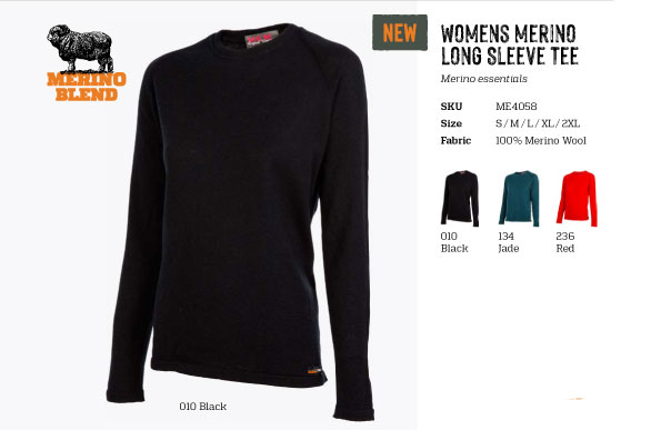 (ME4058)Womens Long sleeve merino t-shirt