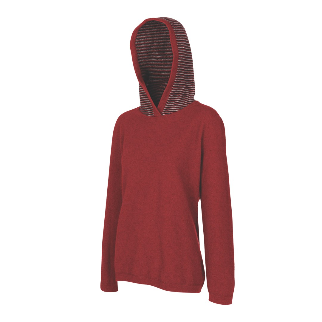 (MB3076) Striped possum merino wool silk Hoodie